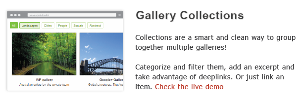 Gallery Collections Collections are smart and clean way group together multiple galleries! Categorize and filter tIiern, add excerpt arid take advantage deeplinks. just link item. Check the live demo