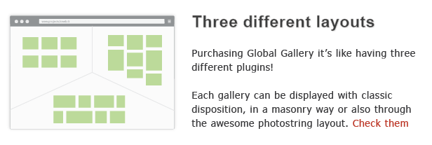 . Three different layouts Purchasing Global Gallery like havinq three different plugins! Each gallery can displayed with classic disposition, masonry way also through the awesome pliotostring layout. Check them