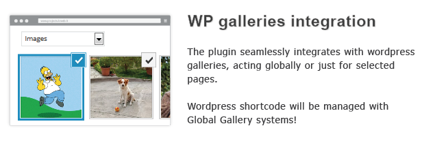 gallerier integration plugin integreres problemfrit med wardpress gallerier, der handler globalt bare for udvalgte sider. kortkode vil lykkedes med Global Gallery