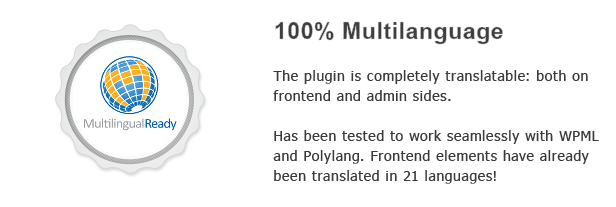 Multilanguage The plugin completely both frontend and adnin sides. Has been tested work searnlessly with WPML Frontend elements have already been translated languages!