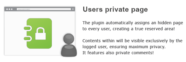 Users private page automalically assigns hidden page every user, creating true reserved area! Contents within will visible exclusively Itie logged user, ensuring maximum privacy.